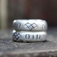 Computer love ring binary sterling silver by idlehandsdesigns
