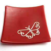 Butterfly Jewelry Dish, Red Ring Plate, Ring Holder, Soap Dish, Candle Holder - Butterfly Passion - 242 -2