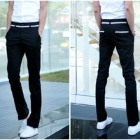 Fashion Korean Japan  Style Men's Casual Cotton Blend Trousers Pants