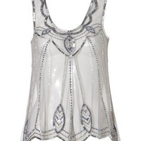 Lipsy Beaded Detail Mesh Top - Lipsy