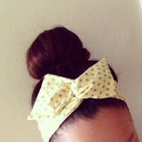 Yellow Polka Dot Dolly Bow Headband by Eindre on Etsy