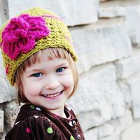 PDF Sweet Pea Beanie and Flower CROCHET PATTERN by RAKJpatterns