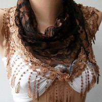 Brown lace and Elegance Shawl / Scarf with Lace Edge by womann