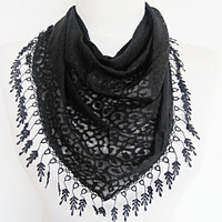 Black Transparent Leopard Scarf With Lace by mediterraneanlights