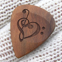 California Apricot Wood Handmade Premium Guitar Pick - Precision Laser Engraved