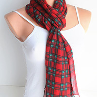 ON SALE Red and Green Gauze Scarf Infinity Scarf Loop Scarf Circle Scarf Cowl Scarf Soft and Lightweight