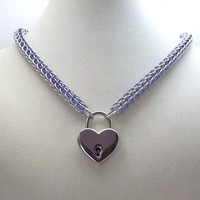 Chainmail Choker Day Collar w Heart Lock and Key Lavender and Silver