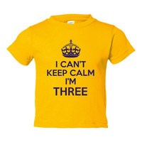 I Cant Keep Calm Im 3 Cute Adorable Funny Kids Toddlers Funny Third Birthday Shirt TEE for all Youth Kids Toddler Sizes & colors