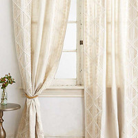 Anthropologie - Appliqued Lace Curtain