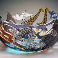 Noah&#x27;s Ark: Ann Alderson Cabezas: Art Glass Bowl - Artful Home