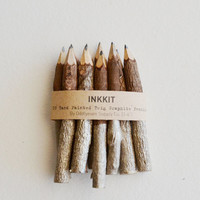 "champagne twig pencils - hand dipped 4"" (10 pencils)"