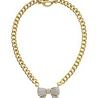 Pave Bow Link Necklace