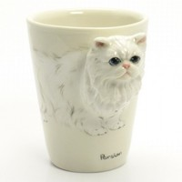 White Persian Cat Mug Ceramic Coffee Cup Cat Lover Gift Collectible
