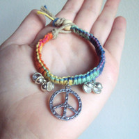 Little Girls Jewelry Peace Sign Bracelet for Girls Rainbow