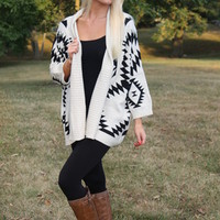Aztec Open Cardigan Sweater