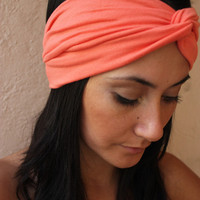 Turban Twist Head BandCoral by ThreeHeartZ on Etsy