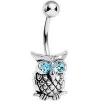 Silver 925 Aqua CZ Eye Wise Owl Belly Ring | Body Candy Body Jewelry