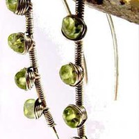 ShopHandmade - peridot and silver wire wraped Blade earrings