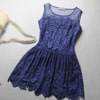 Pleated Stitching Embroidered Gauze Dress    JCAFB