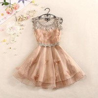 Sweet And Elegant Crochet Butterfly Organza Dress JCABH