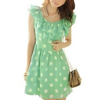 Allegra K Women Two Layers Ruffled Collar Scoop Neck Dots Mini Dress Green S