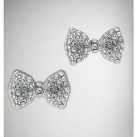 Silver Clear Cubic Zirconia Bow Stud Earrings