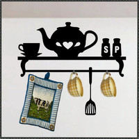 Vinyl Wall Kitchen Decorative Faux Shelf Teapot by WallsThatTalk