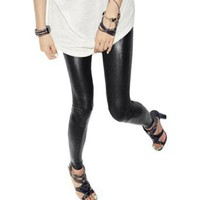 Allegra K Woman Black Faux Leather Elastic Waist Skinny Pants Leggings M