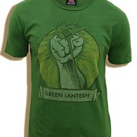 Junk Food Green Lantern Fist Kelly Green Adult T-shirt