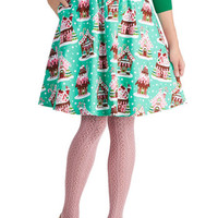 Gingerbread Home Sweet Home Skirt | Mod Retro Vintage Skirts | ModCloth.com