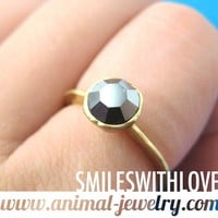 "SALE - Simple Gunmetal Rhinestone ""Diamond"" Ring in Gold Size 6 ONLY"