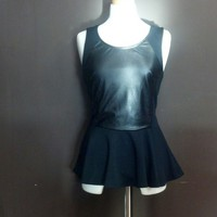 leather panel peplum top