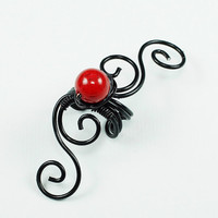 Ear Cuff Black and Red River Shell Swirly Cuff by ShutUpAndCuffMe