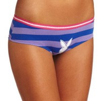 Playboy Women's Striped Boyshort with Bunny Logo