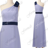 One Shoulder Long Chiffon Lilac Bridesmaid Dresses, Lilac Prom Dresses, Wedding party Dresses