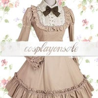 Lolita Costumes Deep Khaki Long Sleeves Pintucks Cotton Classic Lolita Dress [T110183] - $73.00