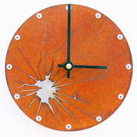 Shattered Metal Wall Clock I (Small Rusted)
