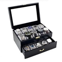 Black Classic Watch Case Display Box With Clear Glass Top Holds 20 Watches:Amazon:Watches