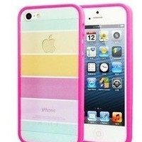 Light Rainbow Stripe iPhone 5 Case/Cover/Protector (Rose Pink):Amazon:Cell Phones & Accessories