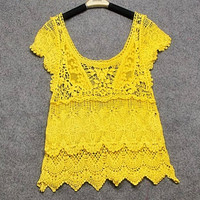 Lace Crotch Hollow Out Crochet Knitted Pullover Shirt Tops Tees Blouse yellow