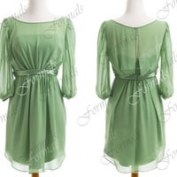 Knee Length Half Sleeves Chiffon Green Party Dresses, Short Cocktail Dresses, Formal Dresses