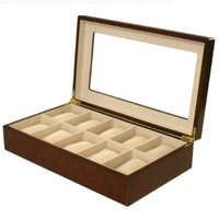 Watch Box for 10 Watches Burlwood Matte Finish XL Extra Large Compartments Soft Cushions Clearance Window:Amazon:Watches