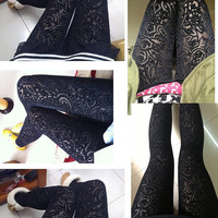 Black Velvet Silver Dots Transparent Sheer Flower Floral Cut Slim Fit Leggings Tights Autumn Winter Vintage XS-M Pants (LGN-020-SDBLK)
