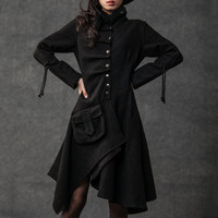Black coat  wool  long coat  (006)