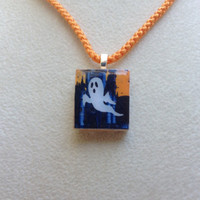 Scrabble Tile Pendant Necklace Halloween Ghost
