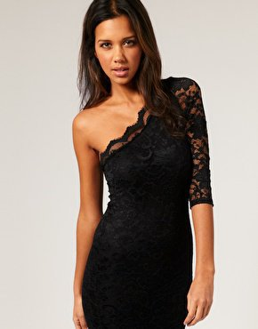 ASOS | ASOS Lace One Sleeve Body-Conscious Dress at ASOS