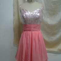 watermelon chiffon short prom dress with sequins    stunning v neck homecoming dress    unique v cute back gowns for homecoming party