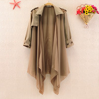 funshop — Khaki Chiffon Jacket for Women