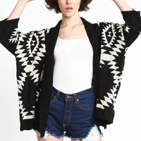 OVERSIZED NAVAJO KNIT CARDIGAN