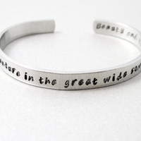 Beauty and the Beast Bracelet - I Want Adventure - Hand Stamped Aluminum Cuff - customizable